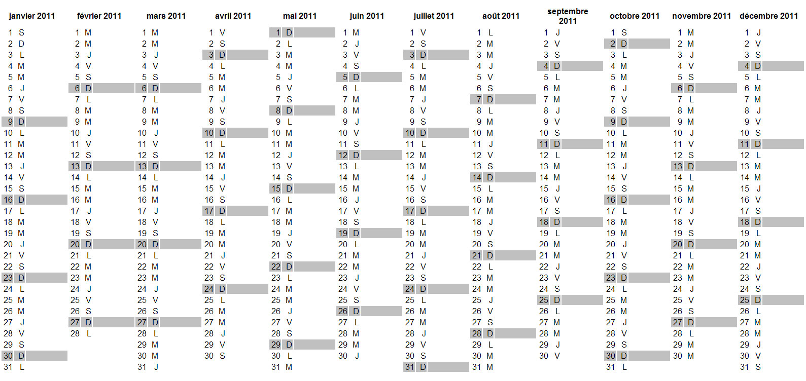 Bekannt Calendrier 2011 à imprimer gratuit au format Excel, PDF, JPG MF99