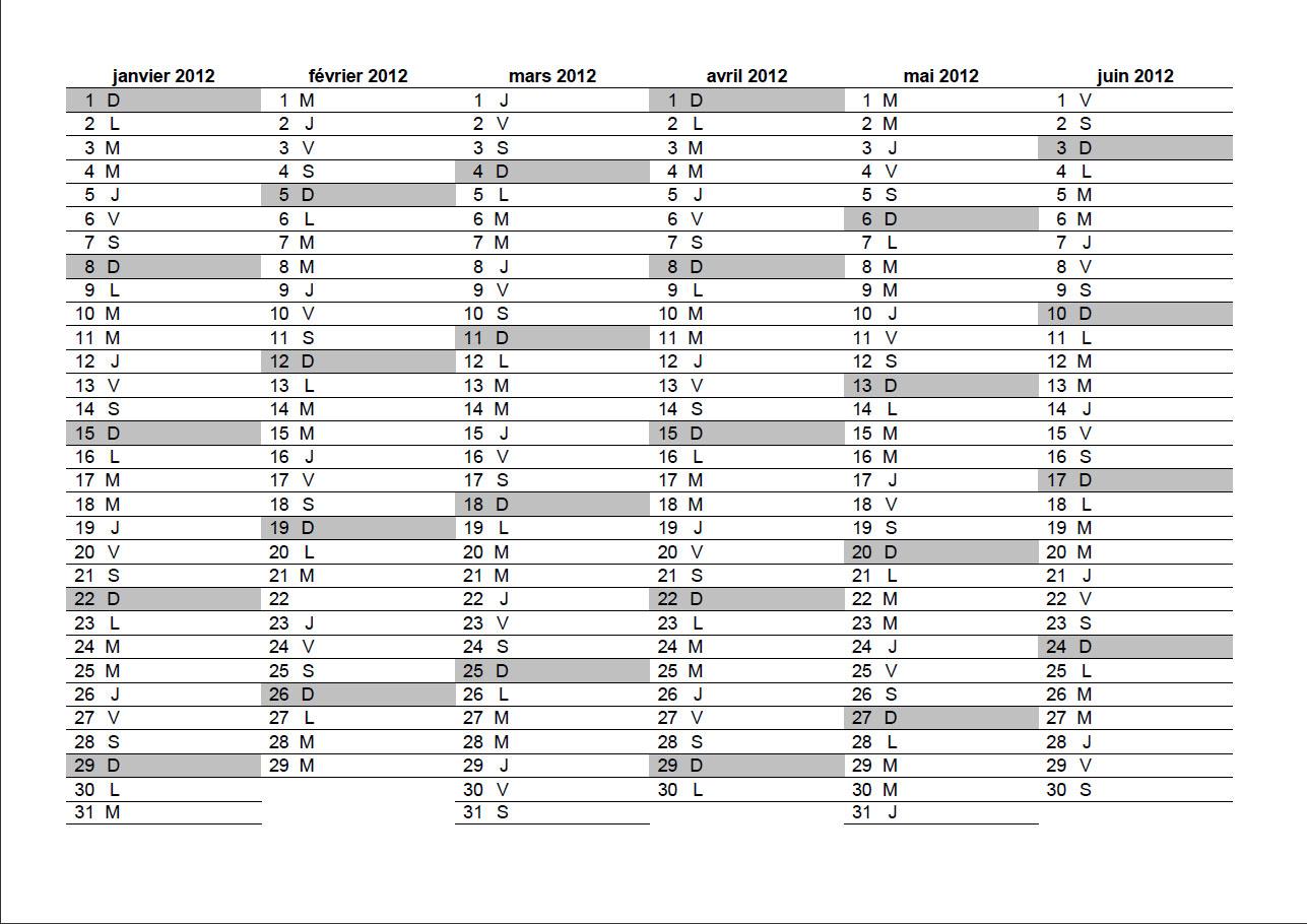 Bien connu Calendrier 2012 à imprimer gratuit au format Excel, PDF, JPG XO71