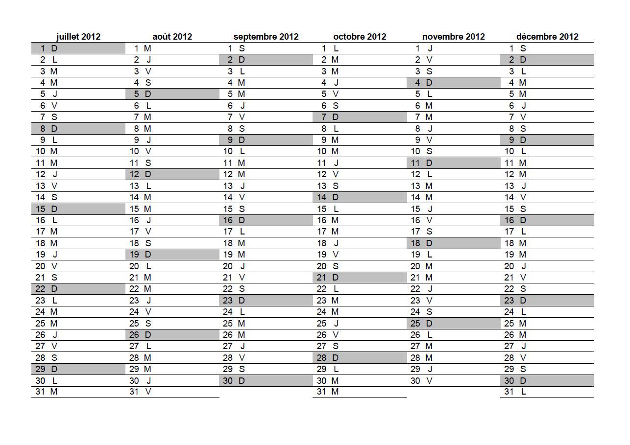 calendrier 2012 à imprimer gratuit au format excel pdf jpg